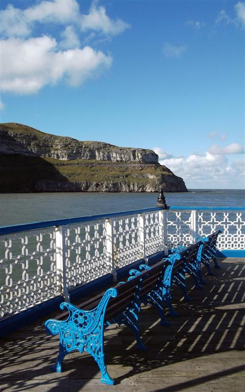 Benches on Llandudno Pier North Wales