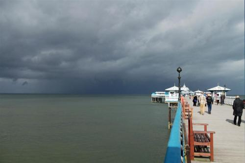 Storm approaching Llandudno Pier North Wales