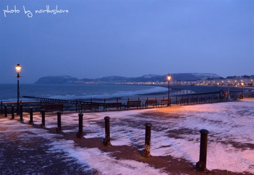 Snow on Llandudno promenade