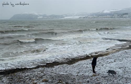Snow on Llandudno beach